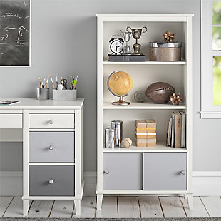 Little Seeds Monarch Hill Poppy Kids White Bookcase with Gray Doors, Gray/White, rollover