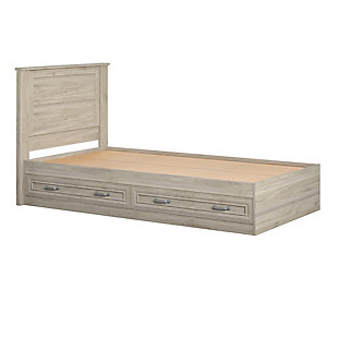Little Seeds Sierra Ridge Levi Twin Bed with Headboard and Storage, Walnut, , large