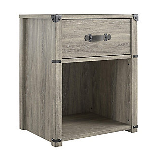 Little Seeds Nova 1 Drawer Storage Nightstand, Gray Oak, , large