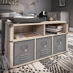 Little Seeds Nova Bedroom Storage Bench, Gray Oak, , rollover