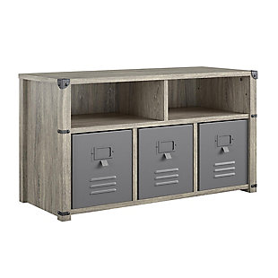 Little Seeds Nova Bedroom Storage Bench, Gray Oak, , large