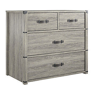 Little Seeds Nova 4 Drawer Storage Dresser, Gray Oak, , large