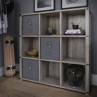 Little Seeds Nova 9 Cube Storage Bookcase, Gray Oak, , rollover