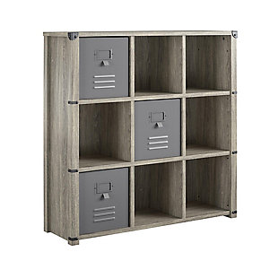 Little Seeds Nova 9 Cube Storage Bookcase, Gray Oak, , large