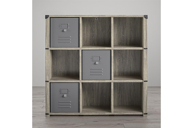 Little Seeds Nova 9 Cube Storage Bookcase, Gray Oak, , large