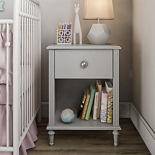 Little Seeds Rowan Valley Arden 1 Drawer Gray Kids Nightstand, Light Gray, rollover