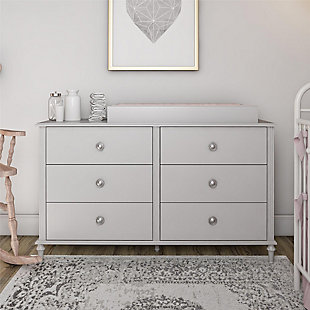 Little Seeds Rowan Valley Arden 6 Drawer Gray Kids Dresser, Light Gray, rollover