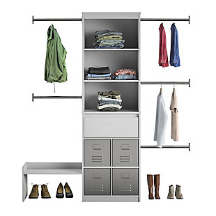 Little Seeds Grow with Me Gray Adjustable Kids Closet Organizer System, Dove Gray, large