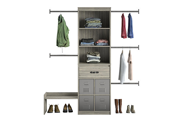 Little Seeds Grow with Me Gray Oak Adjustable Kids Closet Organizer System, Gray, large