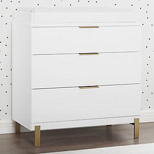 Delta Children Hendrix 3 Drawer Dresser with Changing Top, White/Bronze, rollover