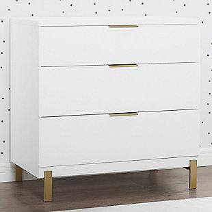 Delta Children Hendrix 3 Drawer Dresser, Bianca White/Bronze, rollover