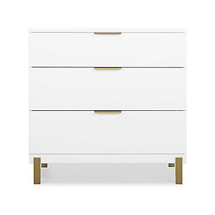 Delta Children Hendrix 3 Drawer Dresser, Bianca White/Bronze, large
