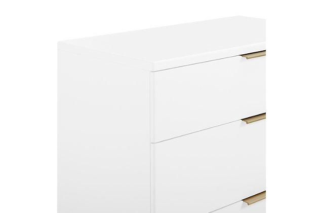 Delta Children Hendrix 3 Drawer Dresser, Bianca White/Bronze, large
