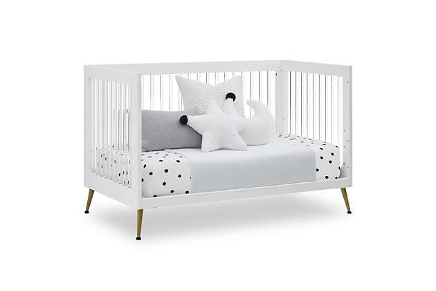 Delta Children Sloane 4-in-1 Acrylic Convertible Crib - Includes Conversion Rails, Bianca White/Bronze, large