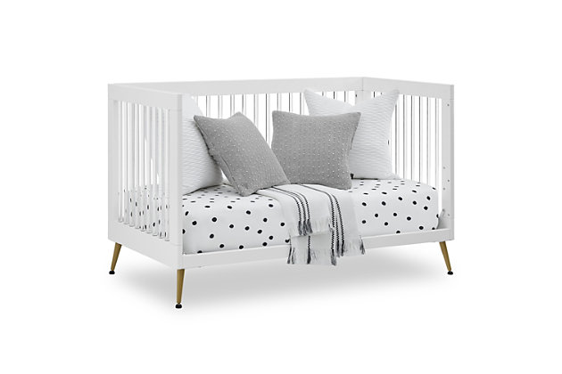 Delta Children Sloane 4-in-1 Acrylic Convertible Crib - Includes Conversion Rails, Bianca White/Bronze, large