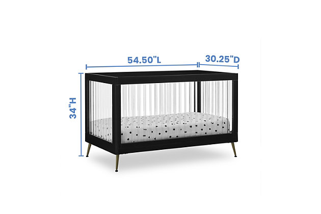 Delta Children Sloane 4-in-1 Acrylic Convertible Crib - Includes Conversion Rails, Midnight/Bronze, large