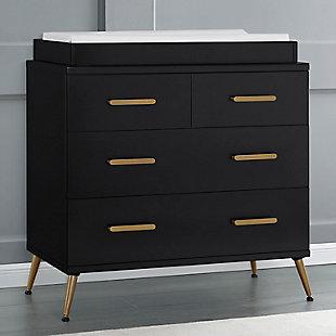 Delta Children Sloane 4 Drawer Dresser with Changing Top, Midnight/Bronze, rollover