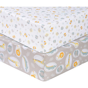 Sammy and Lou Jungle Pals 2 Pack Microfiber Fitted Crib Sheets, , large