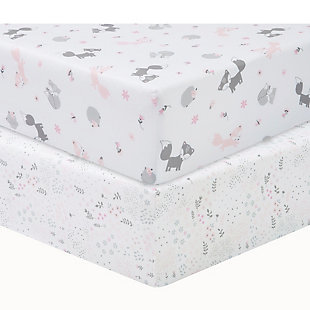 Sammy and Lou Girl Forest 2 Pack Microfiber Fitted Crib Sheets, , rollover