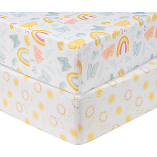 Sammy and Lou Butterfly Sun 2 Pack Microfiber Fitted Crib Sheets, , rollover