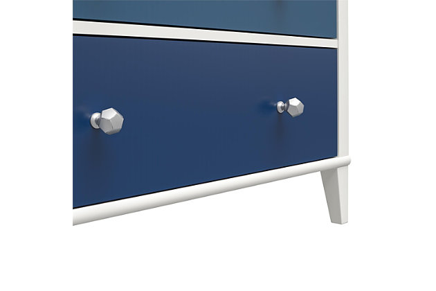 Little Seeds Monarch Hill Poppy 3 Drawer Blue and White Dresser, Blue, large