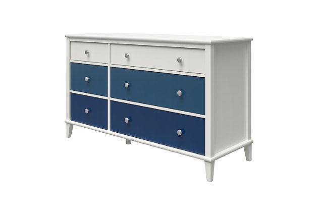 Little Seeds Monarch Hill Poppy 6 Drawer Blue and White Dresser, Blue, large