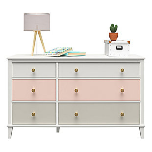 Little Seeds Monarch Hill Poppy 6 Drawer Peach and Taupe Dresser, Peach/Taupe, large