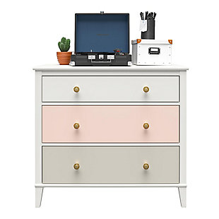 Little Seeds Monarch Hill Poppy 3 Drawer Peach and Taupe Dresser, Peach/Taupe, large