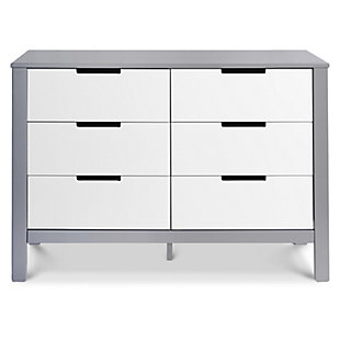 Carter's by Davinci Colby 6-Drawer Double Dresser in Gray and White, Gray/White, large