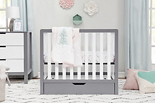 Carter's by Davinci Colby 4-in-1 Convertible Mini Crib with Trundle, Gray/White, rollover