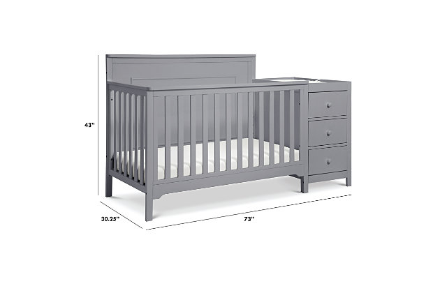 Carter's by Davinci Dakota 4-in-1 Crib and Changer Combo in Gray, Gray, large