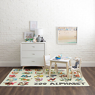"Mohawk Prismatic Alphabet Zoo Kids 3'4"" x 5' Area Rug, Multi, rollover"