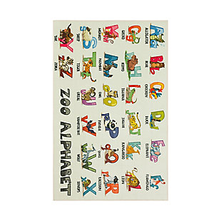 "Mohawk Prismatic Alphabet Zoo Kids 3'4"" x 5' Area Rug, Multi, large"