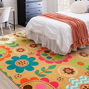 "Mohawk Prismatic Critters Floral Kids 3'4"" x 5' Area Rug, Multi, rollover"
