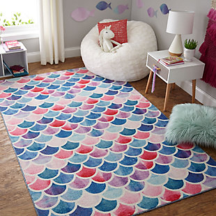 "Mohawk Prismatic Mermaid Scales Pink Kids 3'4"" x 5' Area Rug, Light Coral, rollover"