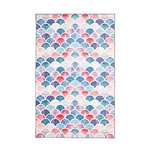 "Mohawk Prismatic Mermaid Scales Pink Kids 3'4"" x 5' Area Rug, Light Coral, large"