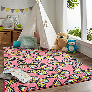 "Mohawk Prismatic Midnight Garden Pink Kids 3'4"" x 5' Area Rug, Red, rollover"