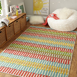 Mohawk Prismatic Optical Lines Kids 5' x 8' Area Rug, Multi, rollover