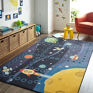 "Mohawk Prismatic Space Rocket Kids 3'4"" x 5' Area Rug, Navy, rollover"