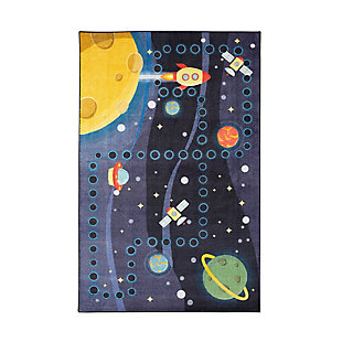 "Mohawk Prismatic Space Rocket Kids 3'4"" x 5' Area Rug, Navy, large"