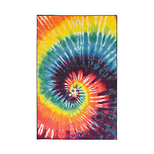 "Mohawk Prismatic Tie Dye Swirl Rainbow Kids 3'4"" x 5' Area Rug, Multi, large"