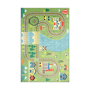 "Mohawk Prismatic Train Track Play Kids 3'4"" x 5' Area Rug, Multi, large"