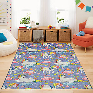 "Mohawk Prismatic Unicorn Wish Purple Kids 3'4"" x 5' Area Rug, Purple, rollover"