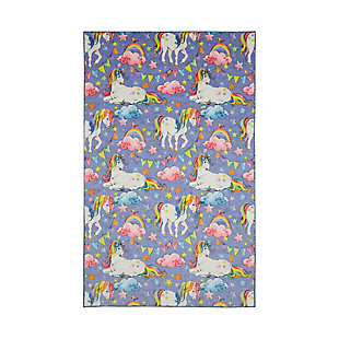 "Mohawk Prismatic Unicorn Wish Purple Kids 3'4"" x 5' Area Rug, Purple, large"