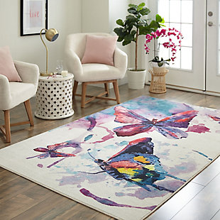 Mohawk Prismatic Watercolor Butterflies Purple Kids 5' x 8' Area Rug, Multi, rollover
