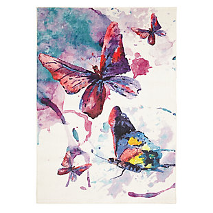 Mohawk Prismatic Watercolor Butterflies Purple Kids 5' x 8' Area Rug, Multi, large