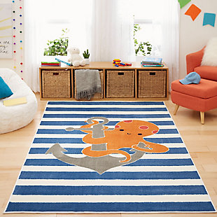 Mohawk Aurora Kids Little Octopus 5' x 8' Area Rug, Navy, rollover