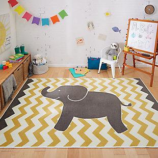 Mohawk Aurora Kids Lucky Elephant Yellow 5' x 8' Area Rug, Yellow, rollover