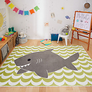 Mohawk Aurora Kids Smiling Shark Lime Green 5' x 8' Area Rug, , rollover