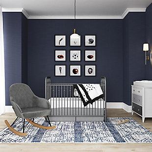 Little Seeds Monarch Hill Dahlia Nursery Rocker Chair, Gray Chenille, Dove Gray, rollover